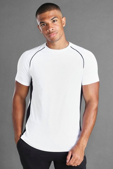 White MAN Muscle Fit Raglan T-Shirt With Piping