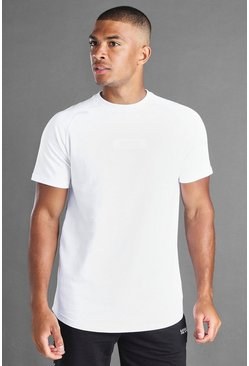 White MAN Reflective Box Longline Raglan T-shirt