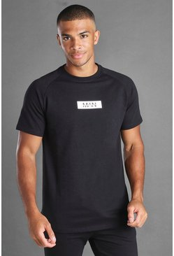 Black MAN Reflective Box Longline Raglan T-shirt