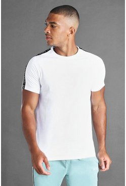 White MAN Muscle Fit Raglan T-shirt with Tape Detail