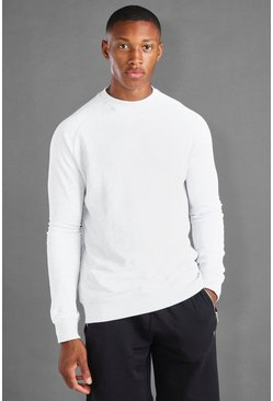 Ecru white MAN Raglan Sweater With Rib Cuff and Hem