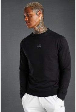 Black MAN Raglan Sweater With Rib Cuff and Hem