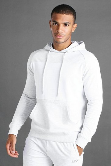Ecru white MAN Colour Block Hoodie