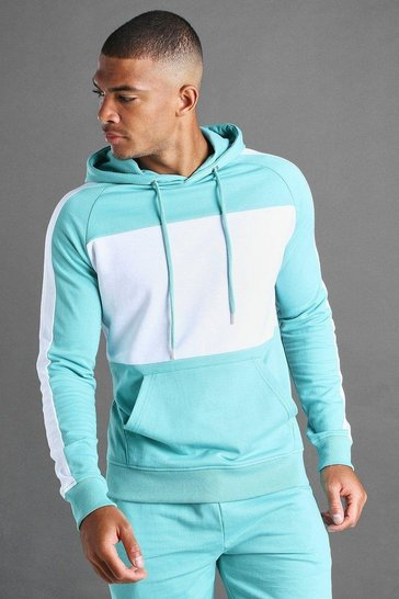 Green MAN Colour Block Hoodie