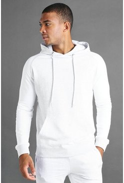 Ecru white MAN Hoodie With Contrast Sleeves