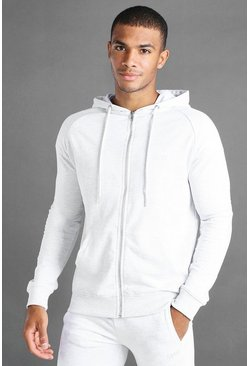 Ecru white MAN Skinny Jersey Zip Through Hoodie With Panels