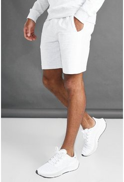 Ecru white MAN Mid Length Shorts With Side Panels
