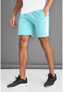 Aqua blue MAN Mid Length Shorts With Side Panels