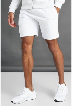 Ecru white MAN Mid Length Shorts With Contrast Drawcords