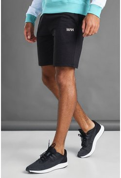 Black MAN Mid Length Shorts With Contrast Drawcords