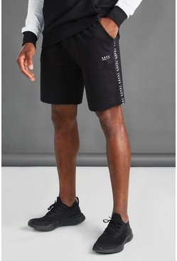 Black MAN Mid Length Shorts With Tape Detail