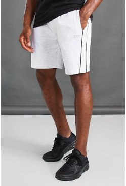 Ecru white MAN Mid Length Shorts With Panel And Piping Detail