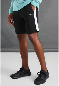Black MAN Mid Length Shorts With Panel And Piping Detail