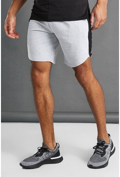 Grey Mid Length Shorts With Side Panel