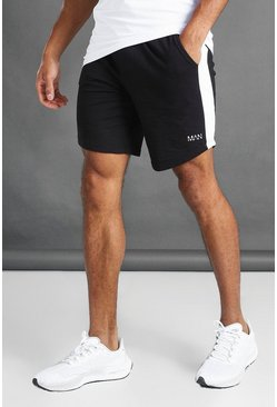 Black Mid Length Shorts With Side Panel