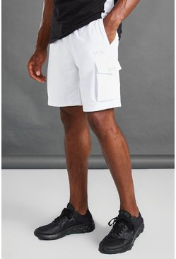 White MAN Cargo Shorts