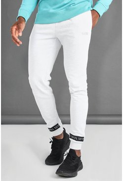 Ecru white MAN Joggers With Man Tape Cuff
