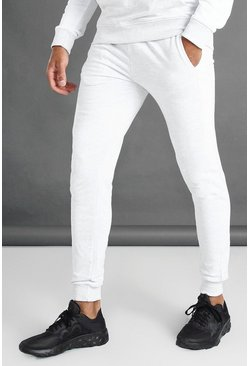 Ecru white Skinny Fit Joggers With Side Panel