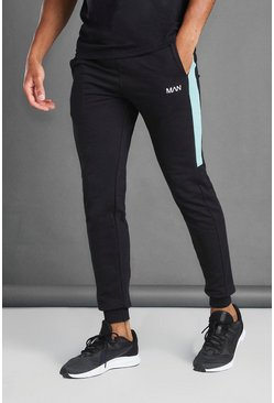 Black Skinny Fit Joggers With Side Panel