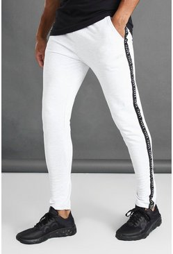 Ecru Tapered Fit Joggers With MAN Side Tape