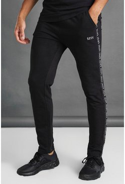 Black Tapered Fit Joggers With MAN Side Tape