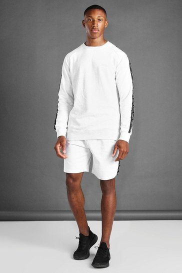 Ecru white Sweater And Short Set With Side Tape