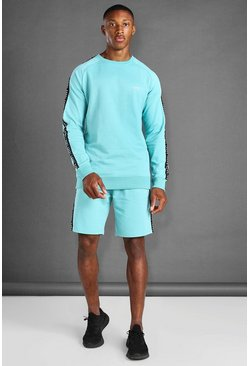 Aqua blue Sweater And Short Set With Side Tape