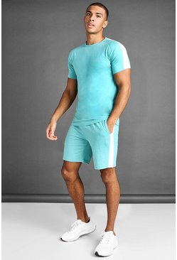 Aqua T-Shirt And Short Set With Side Panels
