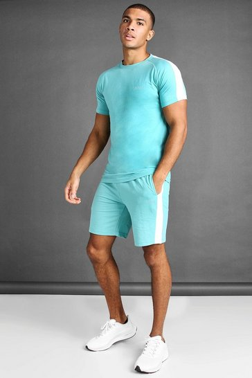 Aqua blue T-Shirt And Short Set With Side Panels