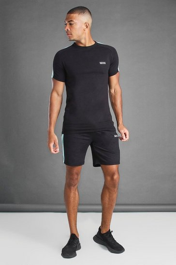 Black T-Shirt And Short Set With Side Panels