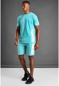 Aqua blue T-Shirt And Short Set With MAN Branded Panel