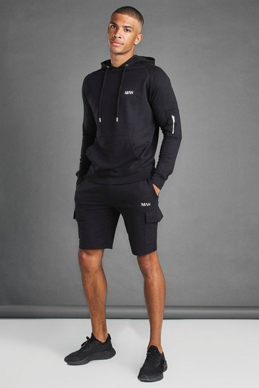 Black Cargo Short And Hoodie Set