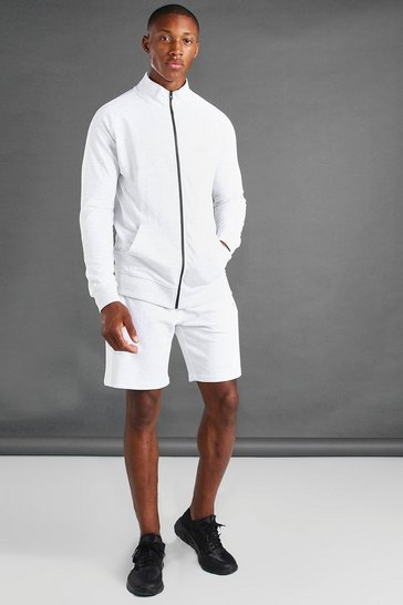 Ecru white Zip Through Side Panel Funnel Neck And Short Set