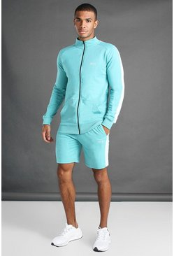 Aqua Zip Through Side Panel Funnel Neck And Short Set