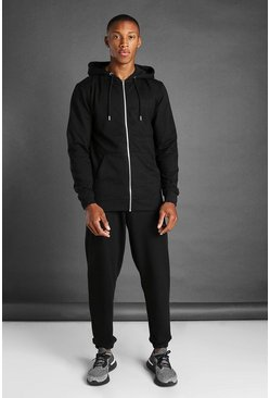 Black svart Hooded Zip Through Full Length Tracksuit