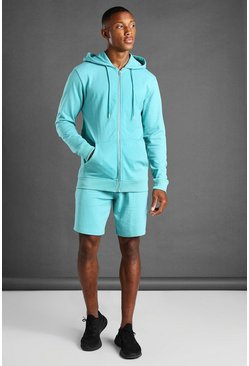 Aqua blue Hooded Zip Through Short Set