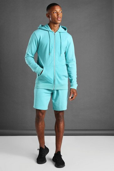 Aqua Hooded Zip Through Short Set