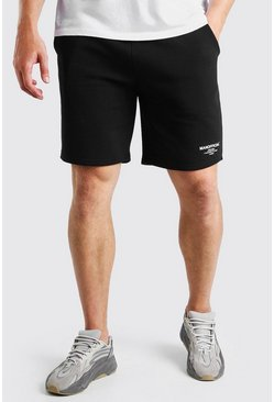 Zwart black Big And Tall MAN Jersey Shorts Met Dubbele Tailleband