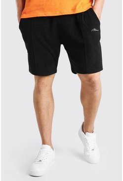 Black Big And Tall MAN Script Towelling Pintuck Short