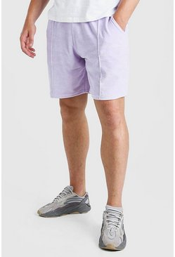 Lilac purple Plus Size MAN Script Towelling Pintuck Short