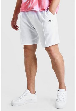 White Big And Tall MAN Script Towelling Pintuck Short