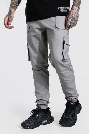 Light grey grey Twill Belt Front Cargo Jogger With MAN Tab