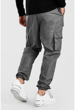 Slate grey Official Man Shell Cargo Pants With Bungee Cords