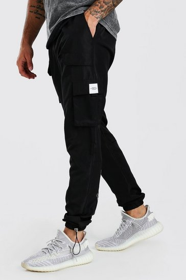 Black Official MAN Shell Cargo Trouser With Bungee Cords