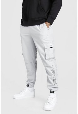 Light grey grey Shell Belted Cargo Pants With Branded Cuffs