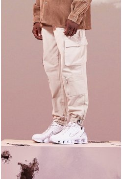 Stone beige Twill Multi Pocket Cargo Trouser With Bungee Cords