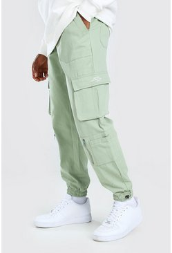 Mint green Twill Multi Pocket Cargo Pants With Bungee Cords