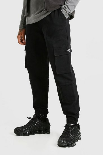 Black Twill Multi Pocket Cargo Trouser With Bungee Cords