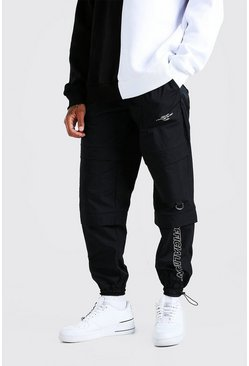 Black Official MAN Peached Shell Pocket Cargo Trouser