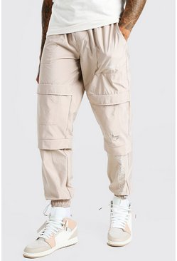 Stone beige Official MAN Peached Shell Pocket Cargo Trouser